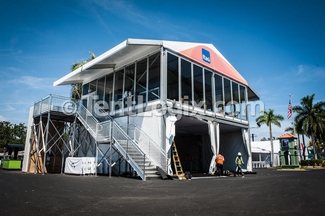 Two story emporium tent rental miami open tentlogix for Pool trade show 2015