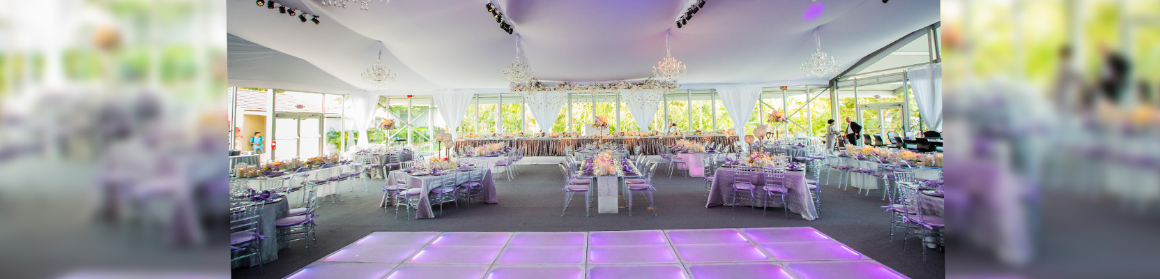 wedding tent, liner and led dance floor